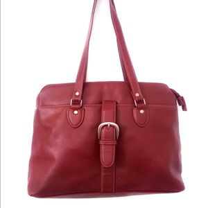 Red faux leather bag